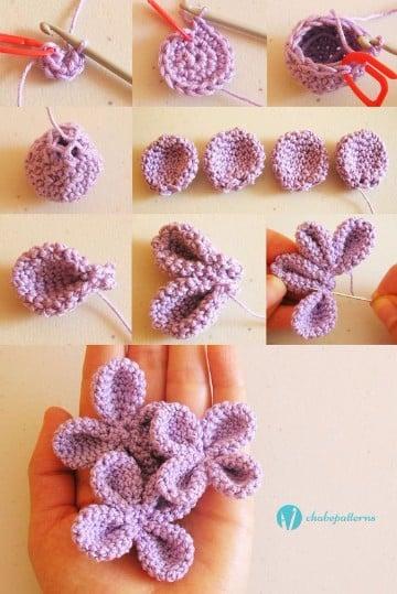 tejido crochet flores paso paso ganchillo