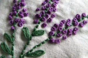 Puntadas de fantasía para hacer un bordado de hojas a mano
