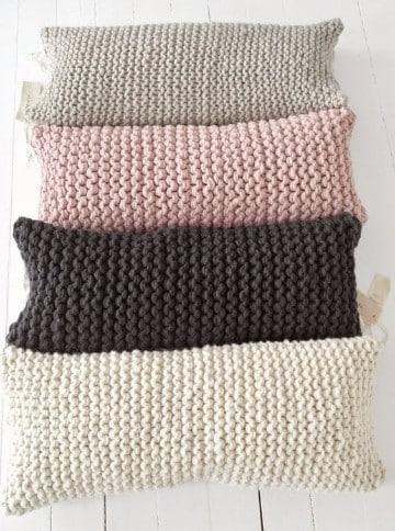 cojines tejidos a dos agujas almohadones