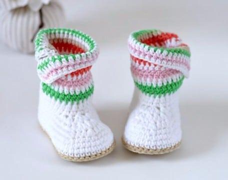como tejer botas a crochet para bebes