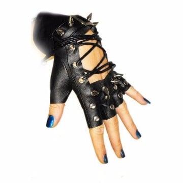 guantes sin dedos de cuero para mujer