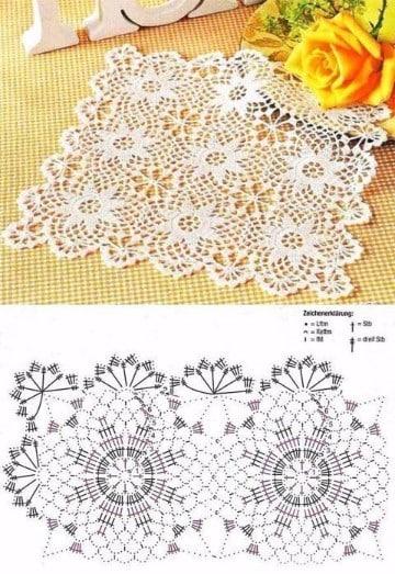 manteles de crochet cuadrados como hacer