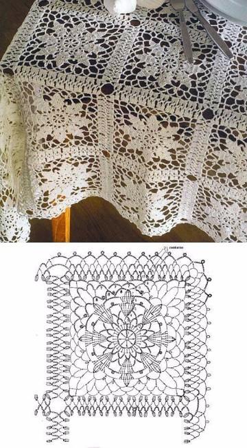 manteles de crochet cuadrados ganchillo