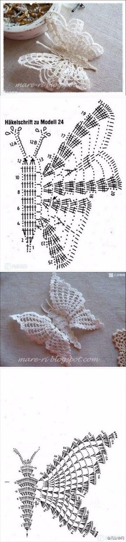 mariposas tejidas al crochet como hacer