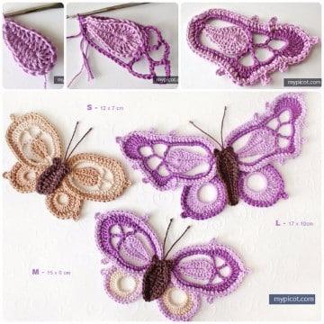 mariposas tejidas al crochet paso a paso