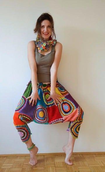 pantalones tejidos a crochet para mujer