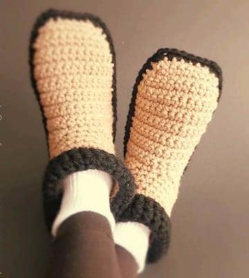 pantuflas tejidas con gancho para adulto