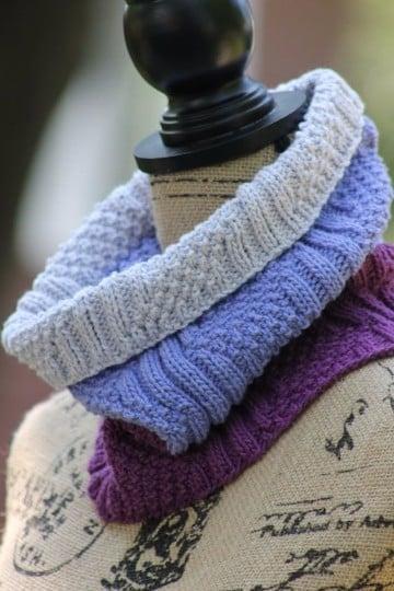 puntos dos agujas para bufandas reversibles