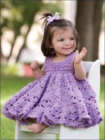 vestidos para bebes tejidos a crochet nina
