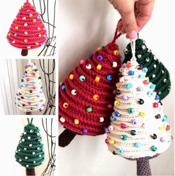 arbol de navidad a crochet con adornos
