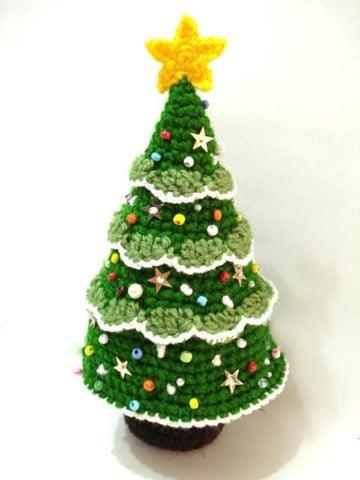 arbol de navidad a crochet punto cocodrilo