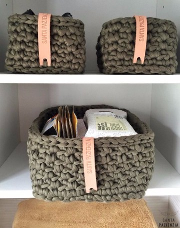 Crea cestas de trapillo rectangulares para el hogar for Decoracion del hogar con crochet
