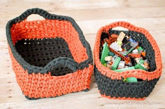 cestas de trapillo rectangulares facil