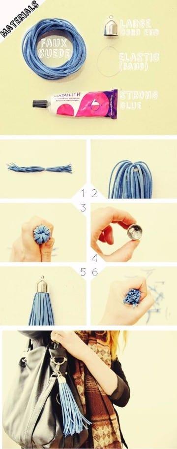 como hacer borlas d hilo para carteras