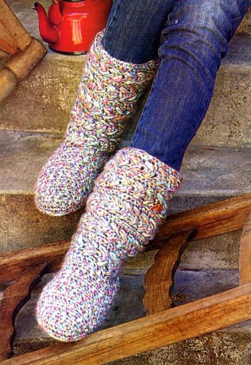 Como hacer calcetines de lana a crochet patrones f ciles - Como hacer talon de calcetines de lana ...