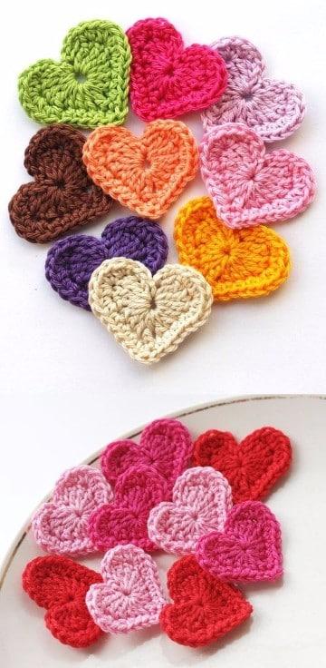 como hacer corazones al crochet faciles