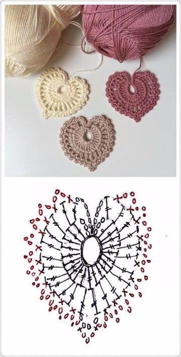 como hacer corazones al crochet paso a paso