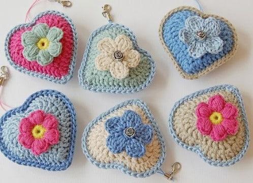 como hacer corazones al crochet rellenos