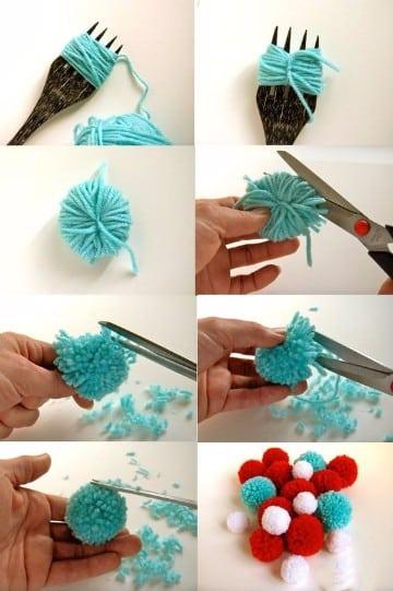 como hacer pompones de lana paso a paso con un tenedor