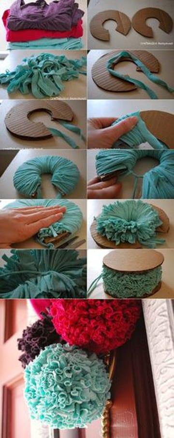 como hacer pompones de lana paso a paso para colgar