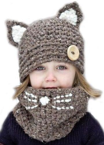 gorros tejidos con orejas de oso