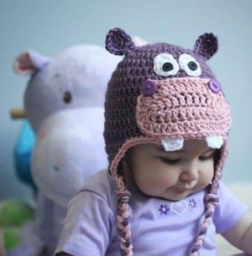 gorros tejidos con oreja para bebes