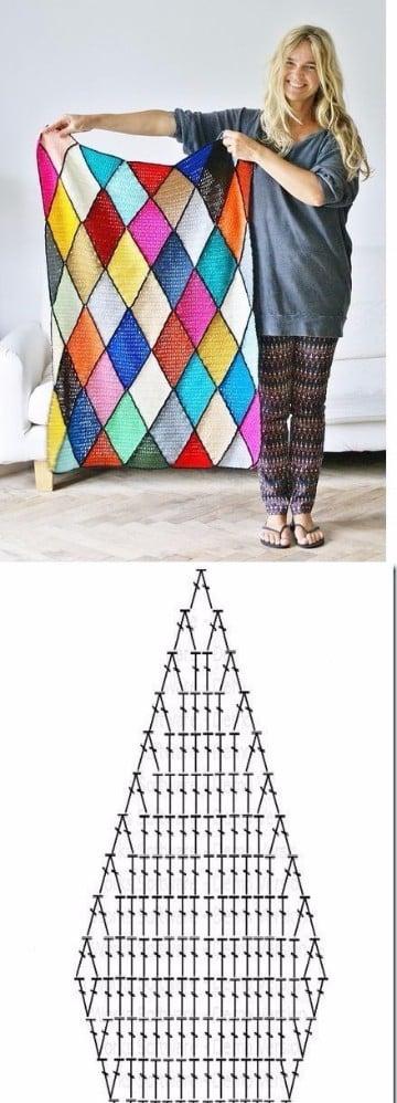 mantas de ganchillo de lana de colores