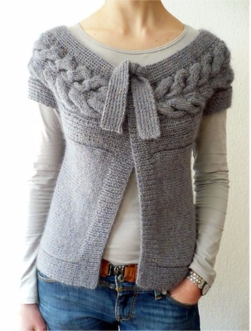modelos de chaleco tejidos a dos agujas para mujer