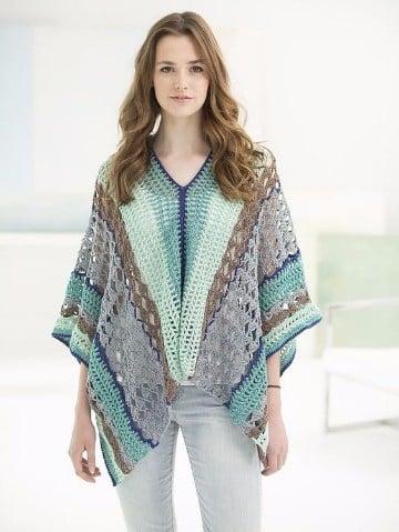 modelos de ponchos tejidos a crochet gratis