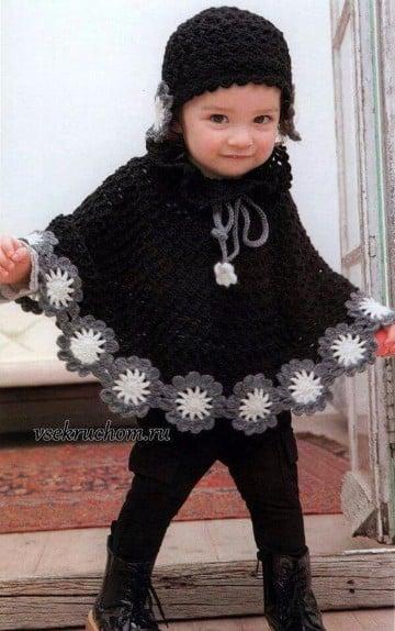 modelos de ponchos tejidos a crochet para niña