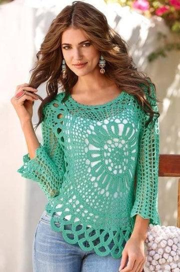 poleras a crochet paso a paso caladas