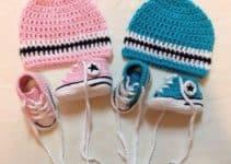 Zapatillas tejidas a crochet con diseño de converse