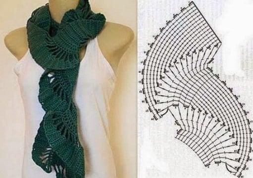 cuellos tejidos a crochet patrones bufandas