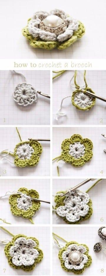 flores de crochet para el pelo paso a paso