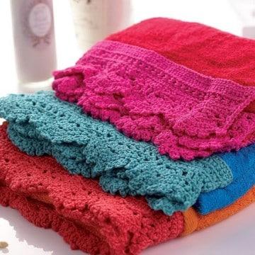 puntillas de crochet para toallas tejidas