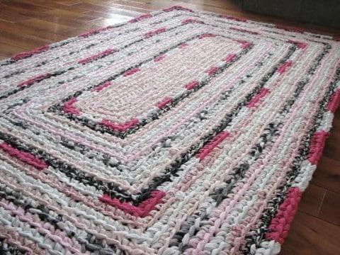 alfombra trapillo rectangular al crochet