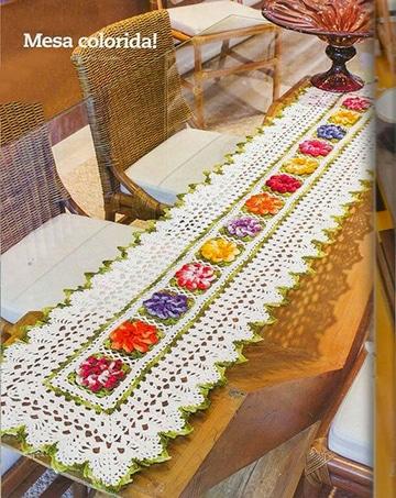caminos de mesa bordados a crochet