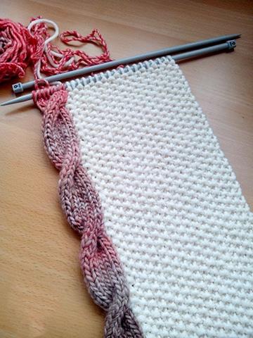 muestras de punto de dos agujas para bufanda