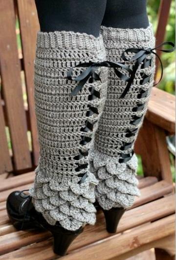 polainas tejidas a dos agujas de moda