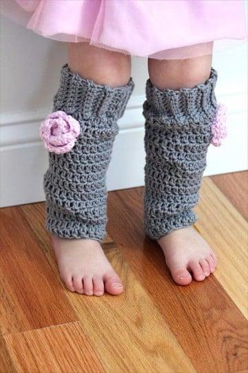 polainas tejidas a dos agujas para niña
