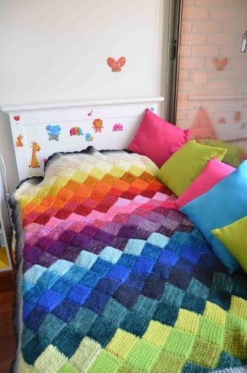 Bonitos y sencillos puntos a crochet para mantas tejidos - Como hacer una manta de lana para el sofa ...