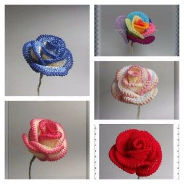 rosas tejidas a crochet patrones faciles