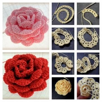 rosas tejidas a crochet patrones paso a paso