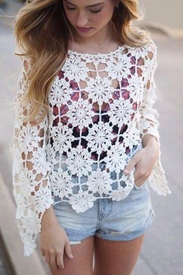tejido de gancho para blusas dama