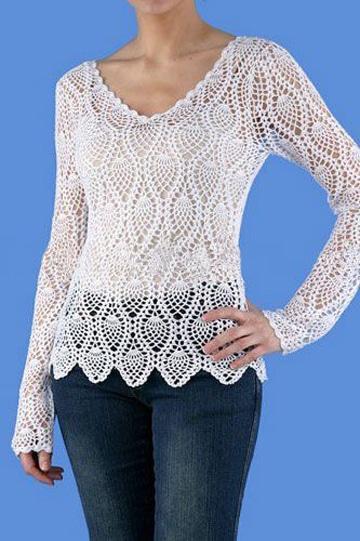 blusas en crochet para dama clasica