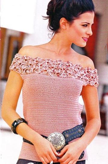 blusas en crochet para dama elegante