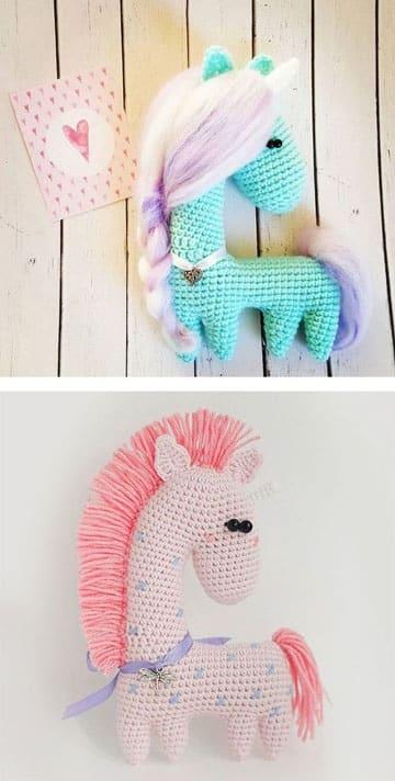 caballos tejidos a crochet de colores