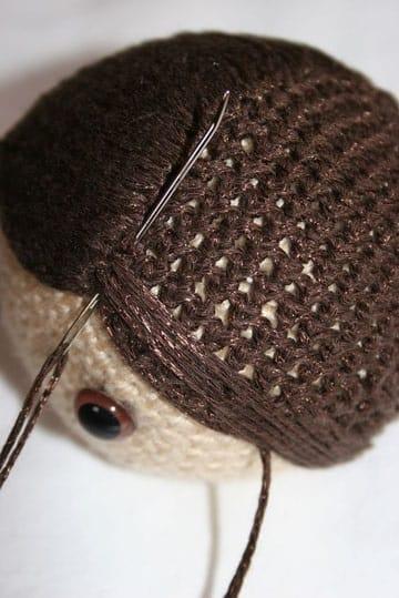 como hacer muñecos de crochet cabello