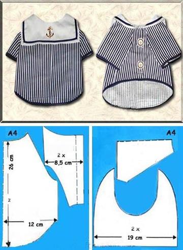 patrones para ropa de perro marinero