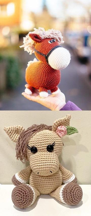 ponys y caballos tejidos a crochet